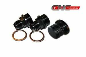 REAR BLOCK BREATHER FITTINGS AND PLUG FOR B16 B18C CATCH CAN M28 TO 10AN-BLACK
