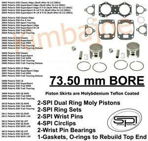 Polaris 550 Classic IQ Shift Trail RMK SS Listed 73.50 mm BORE Pistons Rebuild