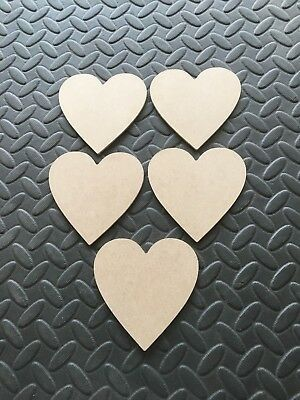 Pack 10 x Wooden heart Shapes 3mm Medite MDF 10cm x10cm Craft Shape