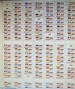 Klebetiketten alle 2, 5 10 20 € SondermünzenBRD und 2 € Europa von 2002-2020