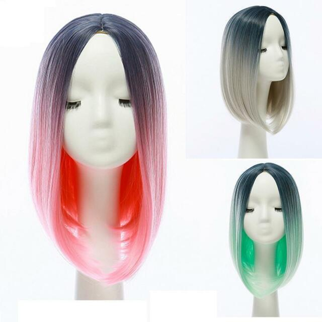 Heat Resistant Synthetic Lace Front Ombre Wigs Straight Bob Black Cosplay Hair