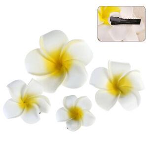 6Pcs Women Plumeria Flower Hair Clip Accessories Barrette Hawaiian Wedding Party
