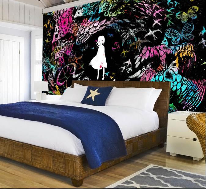 3D Girl Bird Graffiti 84 Wallpaper Mural Paper Wall Print Wallpaper Murals UK