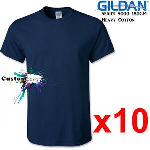 10-Packs-Gildan-Navy-T-SHIRT-Basic-Tee-S-5XL-Men-Heavy-Cotton