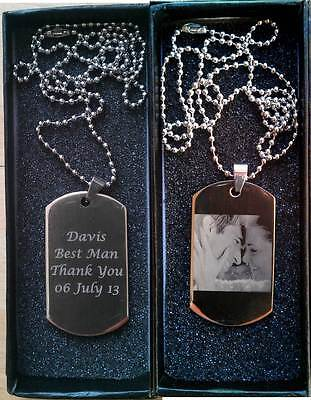 Personalised Engraved Photo/Text Polished Stainless Steel ID Dog Tag + Gift Box