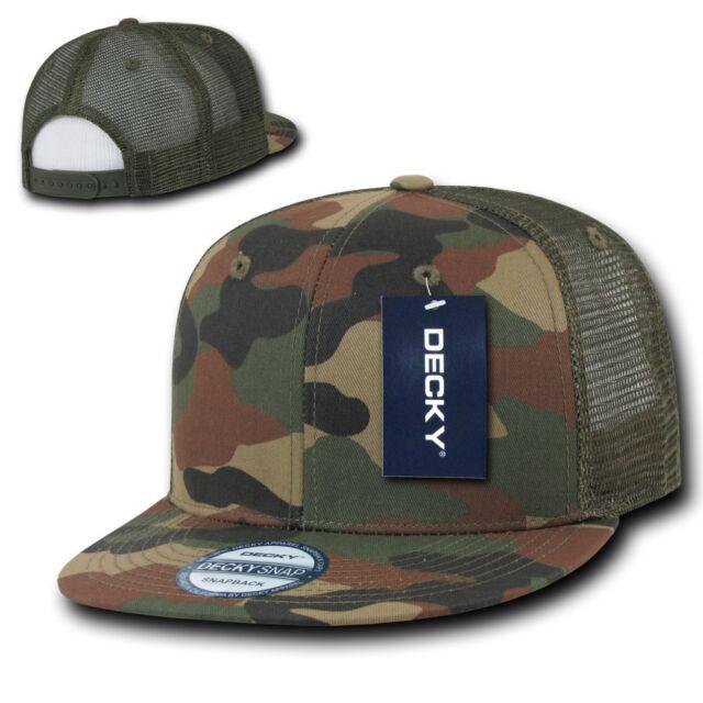 9412ff3cb46 Camouflage TRUCKER HAT Plain Blank Flat Bill Cap vtg snapback woodland camo  mesh