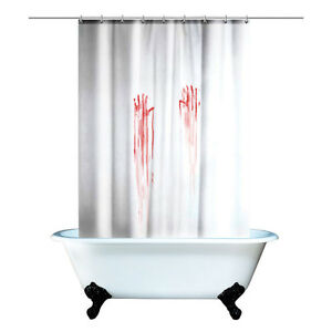 Bloody Shower Curtain Creepy Bloody Hands Horror Crime Scene Scary