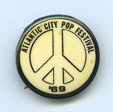 ATLANTIC CITY POP FESTIVAL '69 Original Pinback Button JANIS JOPLIN FRANK ZAPPA