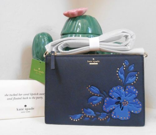 NWT Kate Spade Cameron Street Hibiscus Clarise Leather Bag Blazer Blue NEW $228