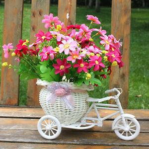 Plastic-White-Tricycle-Bike-Design-Flower-Basket-Storage-Party-Decoration
