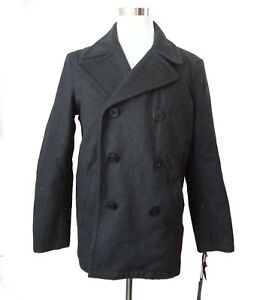 Tommy Hilfiger Men Wool Blend Size M Peacoat Dark Gray Jacket Warm Quilted Linin
