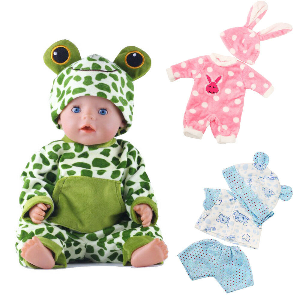 Baby Born Doll Clothes Fit 17inch Zapf Dolls Sleeping Jumpsuit Suit Doll Pajamas 3