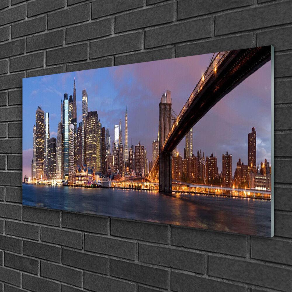 Image sur verre Tableau Impression 100x50 Bâtiments Pont Ville
