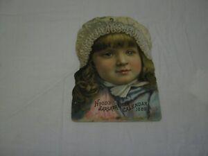 Vintage-1889-Advertising-034-Hoods-Sarsaparilla-Calendar-034-No-Calendar-8-034-x-5-5-034