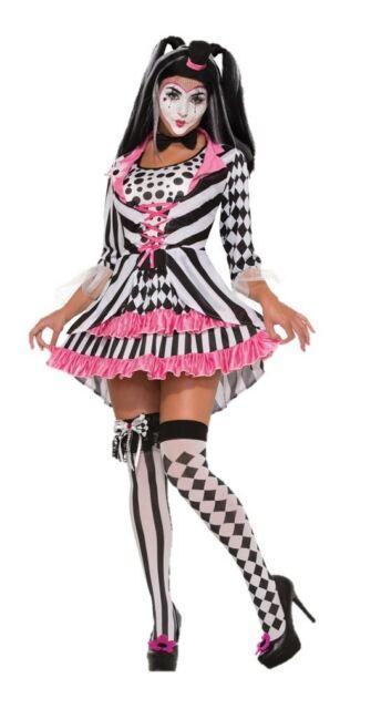 Ladies Harlequin Ring Mistress Jester Halloween Costume Circus Clown Fancy Dress