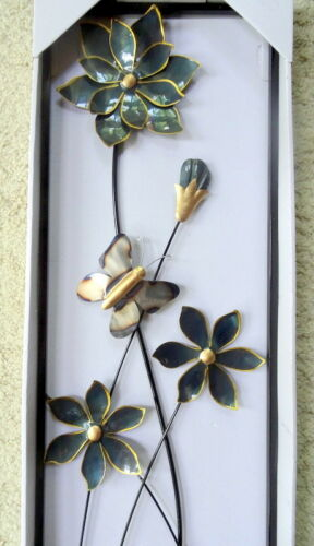 FLOWERS BUTTERFLY METAL WALL ART SCULPTURE Framed Hang In or Outdoor New in Box