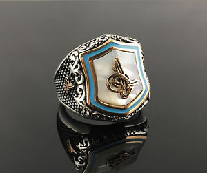 925-Sterling-Silver-White-Pearl-w-Sultan-Signature-Men-039-s-Ring-US-Seller-K6A