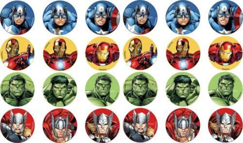 "1.5/"" Precut Glaçage Cupcake Toppers Avengers Cupcake Toppers Hulk Ironman Thor"