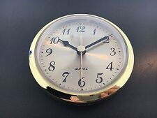 "Quartz Clock Battery Fit-Up Insert Gold Face Arabic Movement 3 1/2"" fits 3"" Hole"