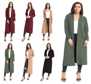 Women's Ladies Long Sleeve Crepe Long Jacket Cardigan Coat
