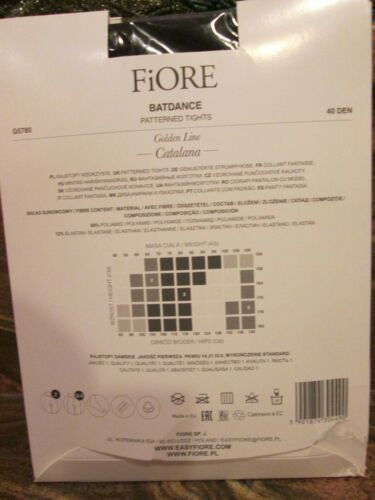 FIORE BATDANCE 40 DENIER PATTERNED PANTYHOSE TIGHTS COLOR BLACK 3 SIZES