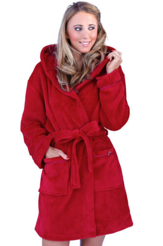 Womens Coral Fleece Robe Ladies New Designer Warm Hooded Dressing Gown Nightwear
