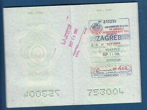 Details about Yugoslavia 1985  Travel document issued in Zagreb -  NONIMMIGRANT Visas to USA !