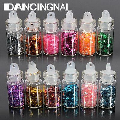 12X Mini Bottle Set Glitter Nail Art Powder Tips Rhinestone Manicure Decoration