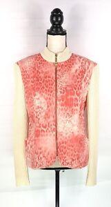 St-John-Sport-Marie-Gray-Women-039-s-Sweater-Jacket-Sz-L-Pink-Creme-Knit-Sleeve-Zip