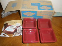 Pampered Chef Set Of 4 Petite Squares - Cranberry 2051 In Box Stoneware