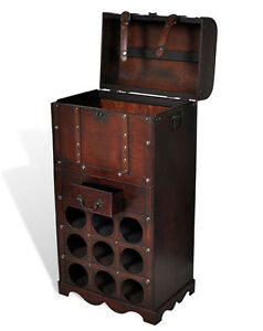 Image Is Loading Antique Wine Rack Wooden Storage Chest Trunk Cabinet