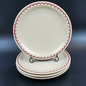 Set-of-4-Dinner-8-7-8-034-Plates-SYRACUSE-China-Beige-Econo-Rim-Restaurant-Red-Edge