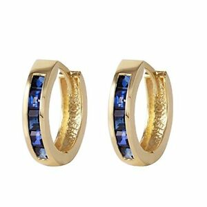 726f73e8733 Image is loading 14K-Solid-Yellow-Gold-Hoop-Huggie-Earrings-Sapphire-