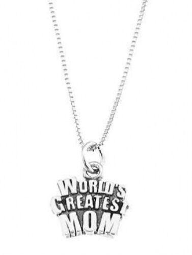 Sterling Silver World/'s Greatest maman charme avec Boîte Chaîne Collier