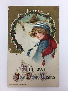 Winsch-Schmucker-New-Year-Postcard-Woman-amp-Sledding-in-Snow-1911-Embossed