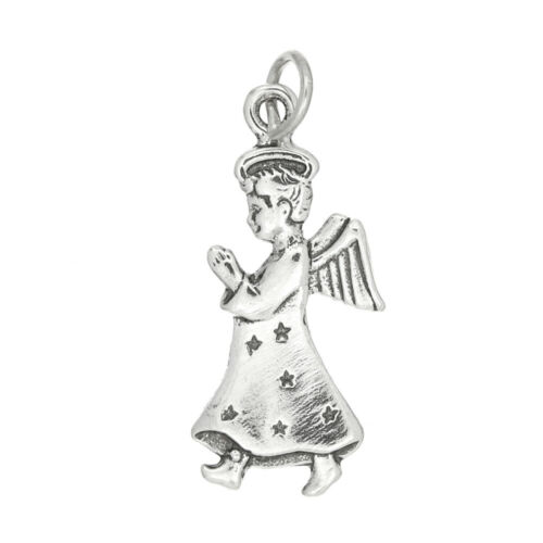 Argent Sterling Ange avec ailes priant charme