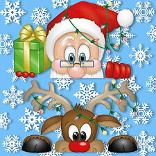 Peeking Santa & Rudolph Static Window Clings 28 Snowflakes Stickers Christmas