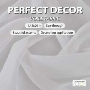 vidaXL Voile Fabric 1.45x20m Polyester Curtain Cover Drape Canopy Cream/White