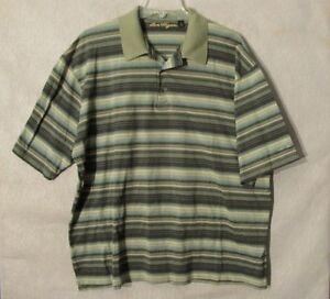 S6477-Ben-Hogan-Seven-Cedars-Casino-Men-039-s-XL-Green-Striped-Short-Sleeve-Polo