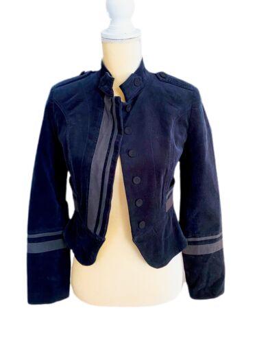 Zara Military Style Jacket Dark Blue Velvet Size X