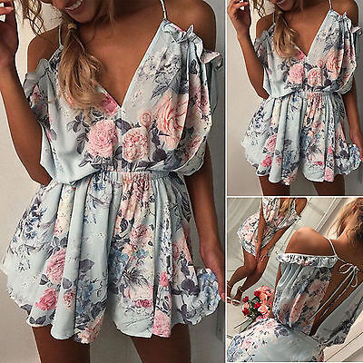 2017 Women Holiday Mini Playsuit Off Shoulder Jumpsuit Summer Beach Short Dress