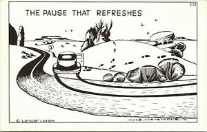 Vtg-Postcard-1949-Comic-Artist-Signed-Dude-Larsen-034-The-Pause-That-Refreshes-034