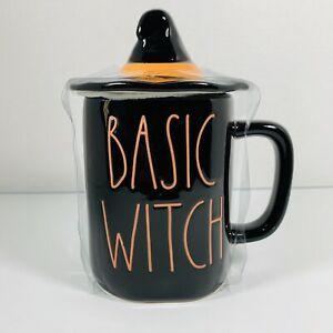 Rae-Dunn-Halloween-Fall-By-Magenta-Black-BASIC-WITCH-With-Witch-Hat-Mug-Topper