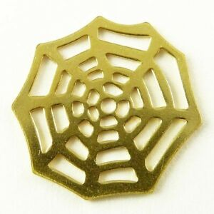 Metal Dangle Shiny Gold Spiders Web. Pack of 5