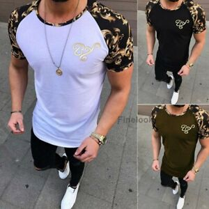 Mens-Slim-Fit-Short-Sleeve-T-Shirt-Designer-Muscle-Fitted-Top-Gym-Curved-Hem-Tee