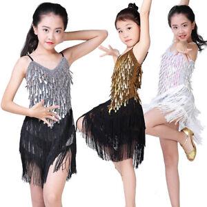 2cc95c0b9eb0 Image is loading Girls-Latin-Dance-Costume-Competition-Dress-Kids-Children-