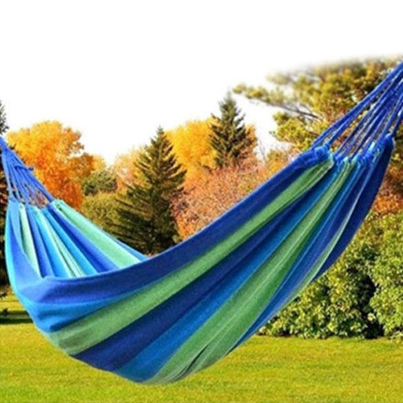 Portable Double Person Outdoor Garden Hang Hammock Travel Camping Swing Canvas
