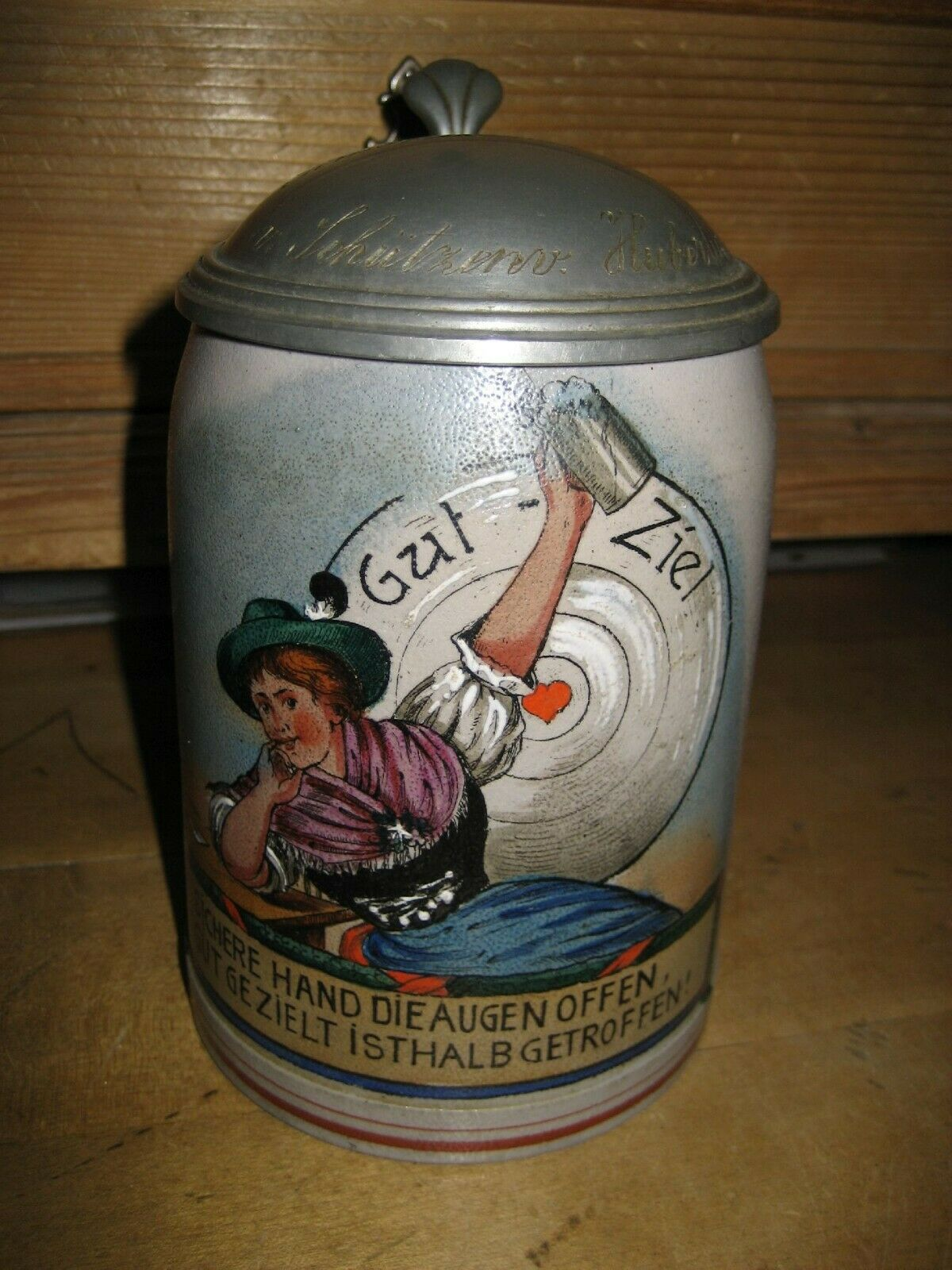 Schützen Krug Steinzeug Hubertus20er Jahre antik SEHR SELTEN