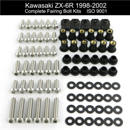 Motorcycle Fairing Bolt Screw Nuts For Kawasaki ZZR600 2003-2008 ZX-6R 1998-2002