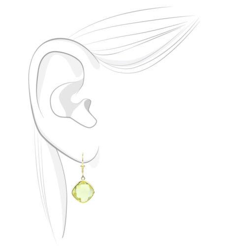 14K Yellow Gold Dangle Earrings With Cushion Cut Lemon Topaz Gemstones